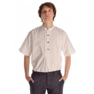 Kurzarm Mittelalterhemd in weiss - Frontansicht
