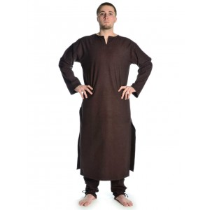Medieval long Tunic with V-shaped collar