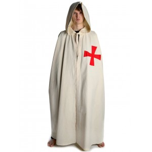 Medieval Cloak with red cross -wide